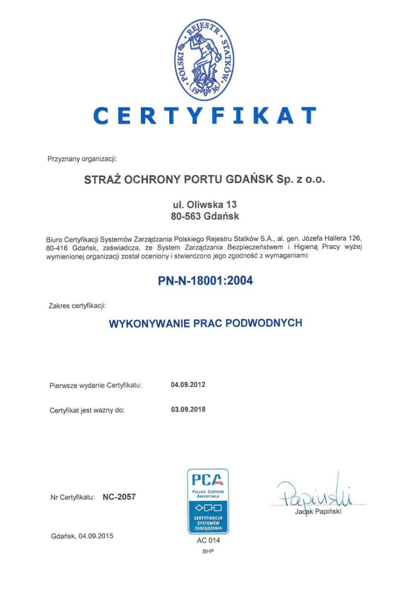 Certyfikat BHP dotyczący wykonywania prac podwodnych